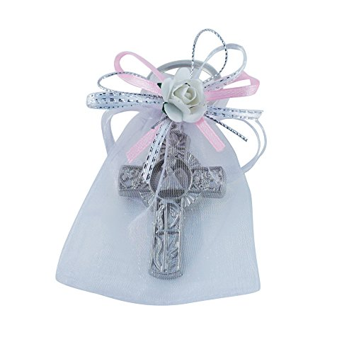 First Communion Keychain Party Favor Boy (12PCS) Key Ring with Decorated Organza Bags with Pink Ribbons/Recuerdos de Primera Comunion Niña/Gift for Guests (Pink)]()