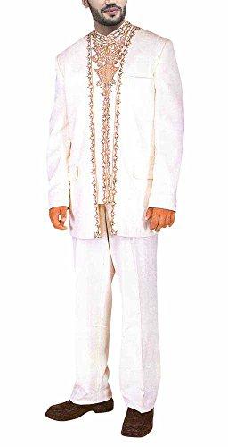INMONARCH Mens Golden Designer Work Wedding Suit JO106 40R White