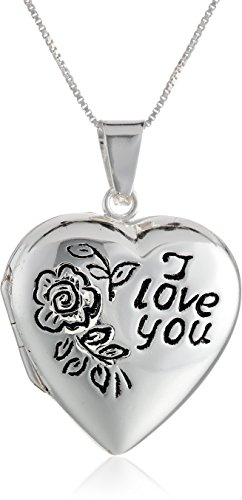 "Sterling Silver ""I Love You"" Heart Locket, 18"""