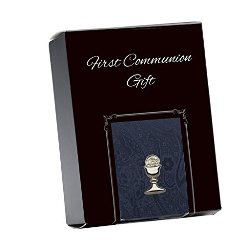 Chalice Lapel Pin - Boys Navy Blue Paisley Tie and Silver Chalice Tie Pin for First Communion, 45-inch