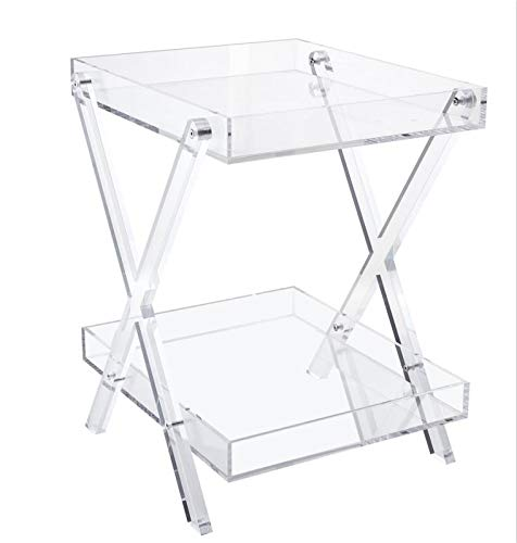 Likenow Furniture Acrylic Folding Rectangular Luxury Tray Table,Clear,Modern,Double Layers,Assemble,20x18inch High 24 Inch,16.5 LBS