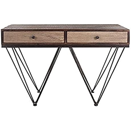 47 Dexter Midcentury Modern Two Draw Wood Console Table With Edgy Legs