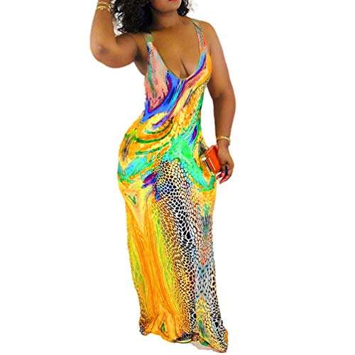 Salimdy Womens Sleeveless Tie Dye Dresses - Scoop Neck Sexy Summer Beach Party Casual Bodycon Long Maxi Dress Sundress Yellow Large