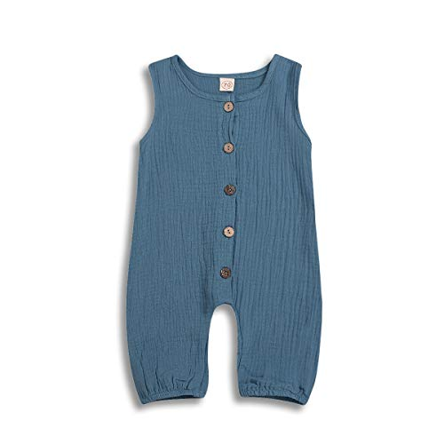 Toddler Baby Boy Girl Clothes Sets Linen Sleeveless Romper Jumpsuit Bodysuit Casual Summer Outfits 0-24 Months (Blue, 6-12 Months)