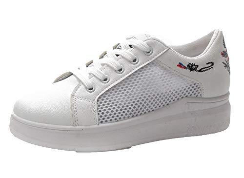 Talon Brodrie Correct Lacet Femme Légeres Agoolar Gmbda015723 Blanc Rond À Chaussures IxTUWw