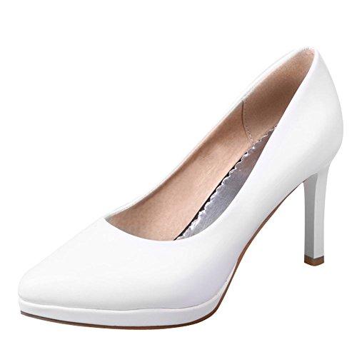 Zapatos De Mujer De Tacón Alto Con Punta En Punta Estilo Sólido Sipmle White