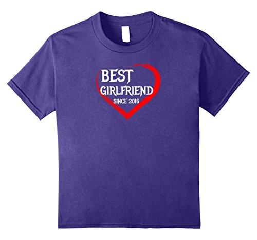 Kids Best Girlfriend Since 2016 1st Year Anniversary Gift T-shirt 8 Purple