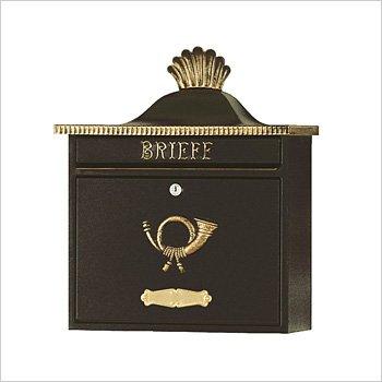 HEIBI (ハイビ) クラシカルポストA 郵便ポスト 壁掛けタイプ 鍵付き おしゃれ アンティーク 大型 北欧 ポスト 郵便受け ブラック B01JS7HJK4 29160  ブラック/ゴールド