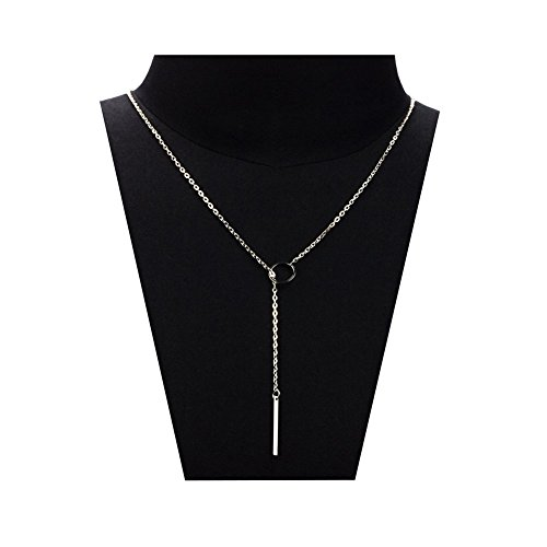 Zealmer 1Pc Women Metal Ring Stick Pendant Charming Chain Statement Necklace
