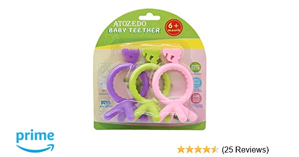 Amazon.com   Baby Teething Toys - Soft Silicone Teether BPA Free 3 Pack -  Easy Hold Bendable Chew Toys - Best for Teething Relief 58623142b