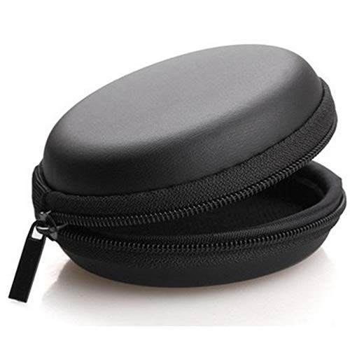 ReTrack Round Mini Hand Pouch-Case for Earbuds,Headphones,Earphone, Key, Coin Etc Pouch … (Round Black, 1)