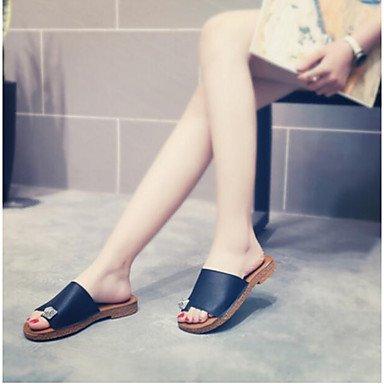 RUGAI-UE Moda de Verano Mujer sandalias casuales zapatos de tacones PU Confort,Beige,US6 / UE36 / UK4 / CN36 Black