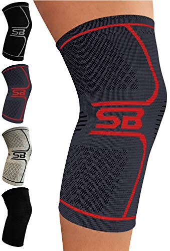 SB SOX Compression Knee Brace for Knee Pain – Braces and Supports Knee for Pain Relief, Meniscus Tear, Arthritis, Injury, Running, Joint Pain, Support (Charcoal/Red, Medium)