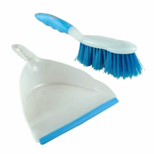 Duzzit Dustpan And Brush Set Home Cleaning Dust Pan Floor Sweeping - Light Blue