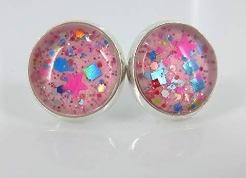 Silver-tone Bubblegum Pink Confetti Glitter Glass Stud Earrings Hand-painted 12mm