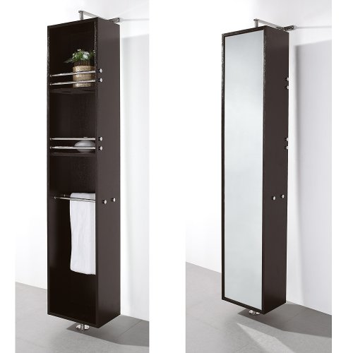 Wyndham Collection Claire Linen Tower & 360 Degree Rotating Floor Cabinet with Full-Length Mirror in (Claire Wall Mirror)