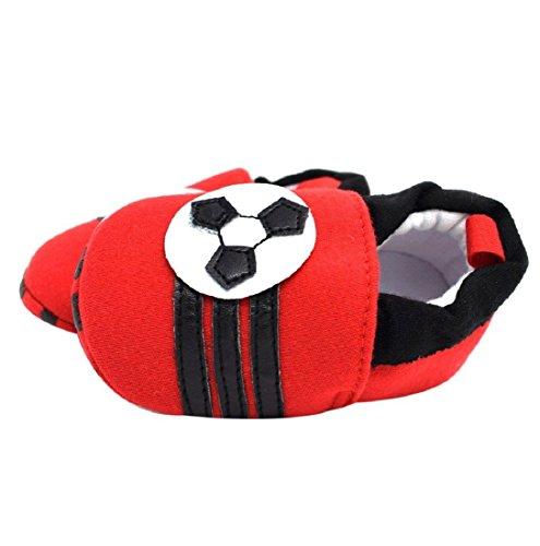 Für 0-18 Monate, Auxma Baby-Jungen-Mädchen-Schuh-Turnschuh-rutschfeste weiche Sole-Kleinkind-Schuhe (6-12 M, Weiß) Rot