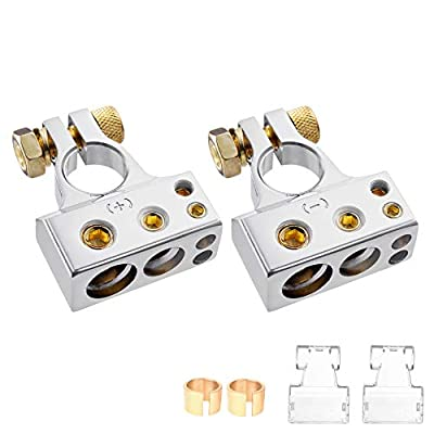 MICTUNING Car Battery Terminal Connectors Kit - 2/4/8/10 AWG Positive Negative Car Battery Post Clamp with 2 Clear Covers Shims for Car Auto Caravan Marine Boat Motorhome