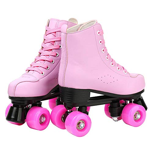 Roller Skates PU Leather High-top Roller Skates Four-Wheel Roller Skates Shiny Roller Skates for Indoor Outdoor DUBUK Double-Row Roller Skates for Unisex