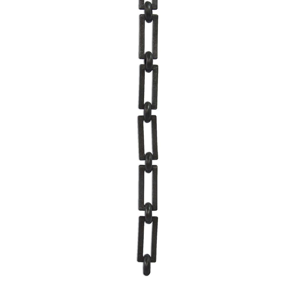 RCH Hardware CH-18-OBB-3 Decorative Oil Bronzed Black Solid Brass Chain for Hanging, Lighting - Rectangles with Greek Key Design and Unwelded Links (3 ft/1 Yard)