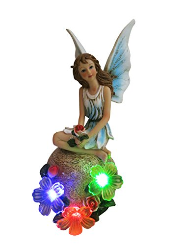 Alpine SLV198SLR Solar Fairy with Light in Blue (Solar Garden Statue Light)