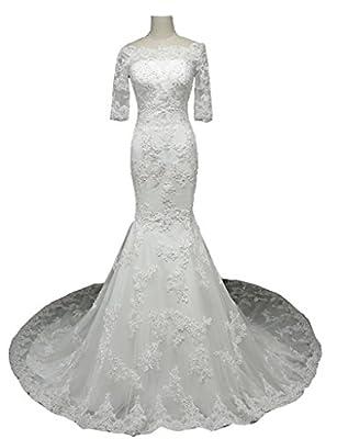 Snowskite Womens Elegant Off Shoulder Lace Long Sleeves Mermaid Wedding Bridal Dress