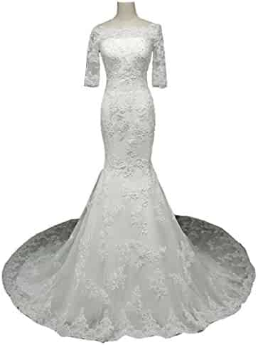 86dfcbd912c Snowskite Womens Elegant Off Shoulder Lace Long Sleeves Mermaid Wedding Bridal  Dress
