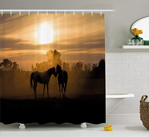 - Ambesonne Horse Decor Shower Curtain, Silhouette Stallions in Love Farmhouse Landscape Romantic Sunset Forest, Fabric Bathroom Decor Set with Hooks, 75 inches Long, Dark Brown Peach