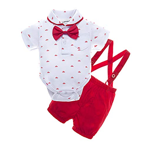 BIG ELEPHANT Baby Boys' 2 Piece T-Shirt Suspender Shorts Clothing Set - Newborn Two Piece Outfit