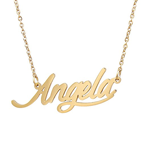 Stainless Steel Cursive Love Pendant Necklace (Gold Plated) - 8