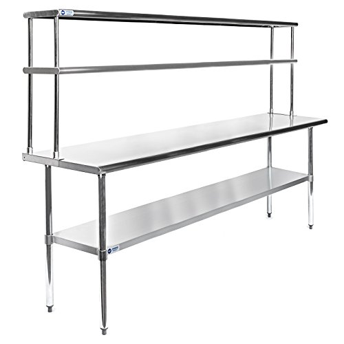 GRIDMANN NSF Stainless Steel Commercial Kitchen Prep & Work Table Plus A 2 Tier Shelf - 72 in. x 12 ()