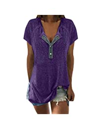 Womens Short Sleeve Henley Button up Loose Tunic Casual Summer Flare Blouse Shirts