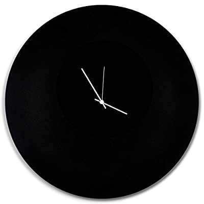 Minimalist Black Clock 'Blackout White Circle Clock Large' Contemporary Metal Wall Clocks, Monochrome Modern Decor - 23in. Black w/White Hands - Artisan designed minimalistic modern timepiece created by real artists in Cincinnati, Ohio. Priceless Peace of Mind: Made in the USA, in our Cincinnati art studio. Includes Manufacturer's Limited Lifetime Parts Warranty. Quality Components: Silent, continuous-sweep movement (non-ticking motor) powered by a single AA battery (not included.) Body cut from lightweight aluminum polymetal. - wall-clocks, living-room-decor, living-room - 41SqRkdQsuL. SS400  -