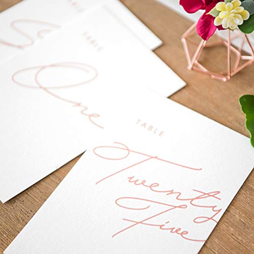 Ling's moment White Wedding Table Numbers Rose Gold 4x6 Calligraphy Design, Numbers 1-25 pack up 25 by Ling's moment