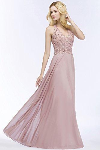 Lang Abendkleier Hochzeit Babyonlinedress Schulterfrei Elegant Brautjungfernkleid Lang Ballkleid Dunkelblau Lang Chiffon THS0q