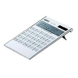 Ultrathin Dual Power 12 Digits Desktop Calculator, LCD Display, White