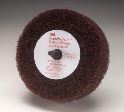 Scotch-Brite(TM) Roloc(TM)+ General Purpose Scuffing Wheel 07443, Roloc Quick-Change Attachment, Aluminum Oxide, 4'' Diameter x 1-1/8'' Width, Very Fine Grit, 6000 rpm, Maroon  (Pack of 10)