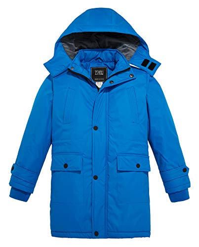 Jacket Raincoat Parka (ZSHOW Boy's and Girl's Outdoor Waterproof Parka Hooded Fleece Lined Ski Jacket Windproof Rain Jacket (Light Blue, 10/12))