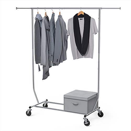 Garment Rack Commercial Grade, Sable Heavy Duty Clothes Rail with Wheels, Adjustable, Chrome Material with a Foldable Storage Box - Garment Storage Boxes