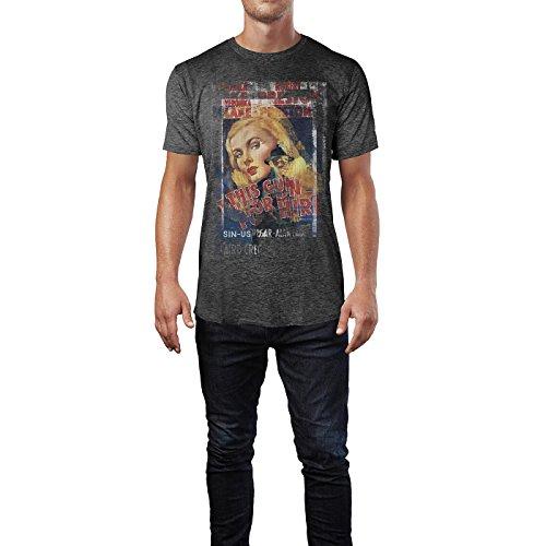 SINUS ART® This Gun for Hire Herren T-Shirts stilvolles dunkelgraues Cooles Fun Shirt mit tollen Aufdruck