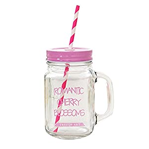 Kaimao Transparent Mason Jar Glass Drinking Bottle with Handle, Coloured Lid & Straw , Perfect for Juice, Cocktails, Smoothies, Slushies and Milkshakes - Pink 16.9 Ounce