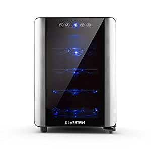 Klarstein Vinovista Vinoteca (12 botellas, capacidad 33 litros, pantalla LED, temperatura regulable, 4 estantes extraíbles, puerta de vidrio, 70W potencia) - negra