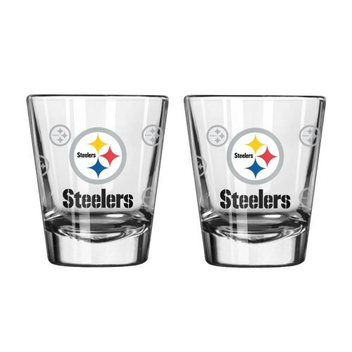 NFL Football Team Logo Satin Etch 2 oz. Shot Glasses | Collectible Shooter Glasses - Set of 2 (Steelers)