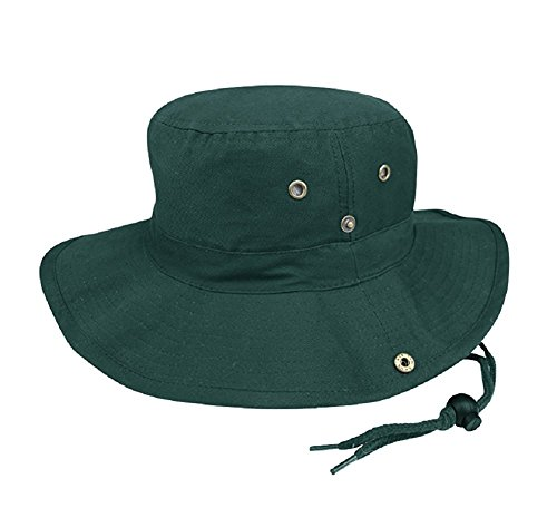 MG Men's Brushed Cotton Twill Aussie Side Snap Chin Cord Hat - Dark Green - ()