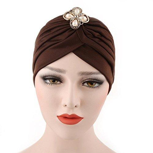 Qingfan Women Girl Diamonds Cancer Chemo Hat Beanie Turban Head Muslim Wrap Cap - Womens Month Cancer Cap