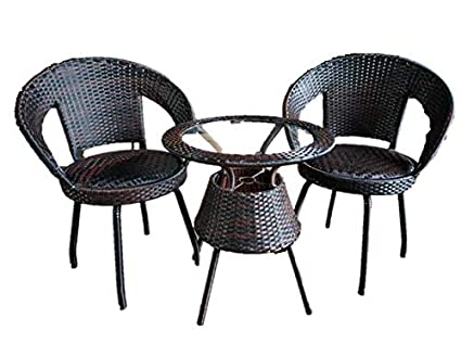 Ashley REVOLVING 360` Out Door Garden Patio Seating Set 1+2 with 2 Chairs and Table Set