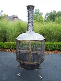 Oakland Living Tower Feast Chimenea, Antique Pewter by Oakland Living