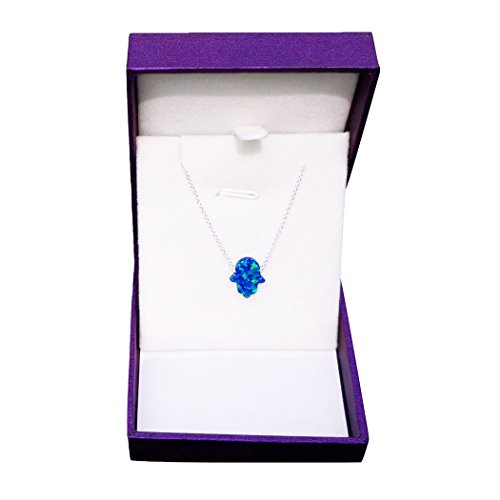 FORLADY Fire Opal Necklace Multi Color Hand Pendant Dark Blue - Dark Blue Pendant Necklace
