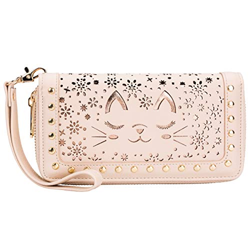 Women's Clutch Wallet RFID Blocking Double Zipper Around Wristlet Long Credit Card Purse Handbag with Wrist Strap (Beige)