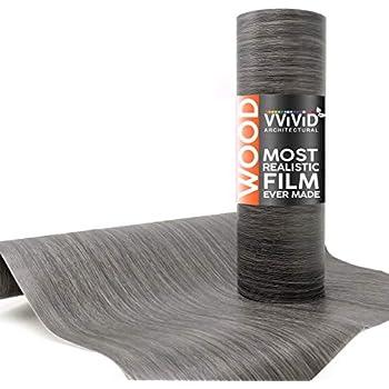 VViViD Dark Grey Vintage Wood 16 Inches x 6.5 Feet Vinyl Sheet Film Textured Finish